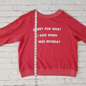 Wildfox Tops - Wildfox Sorry For Monday Graphic Red Pullover